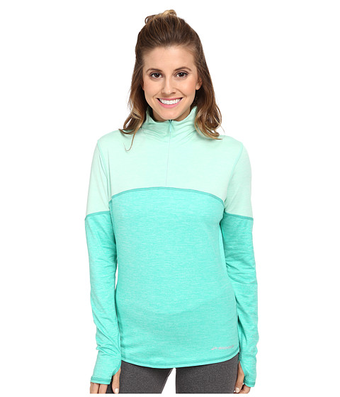 Brooks - Essential L/S Half Zip III (Heather Lagoon/Heather Glass) Women's Workout
