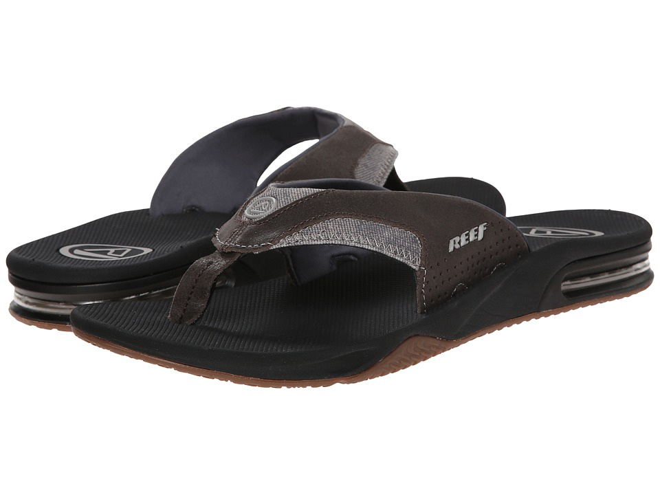 Reef - Fanning TX (Black/Dark Grey) Men's Sandals