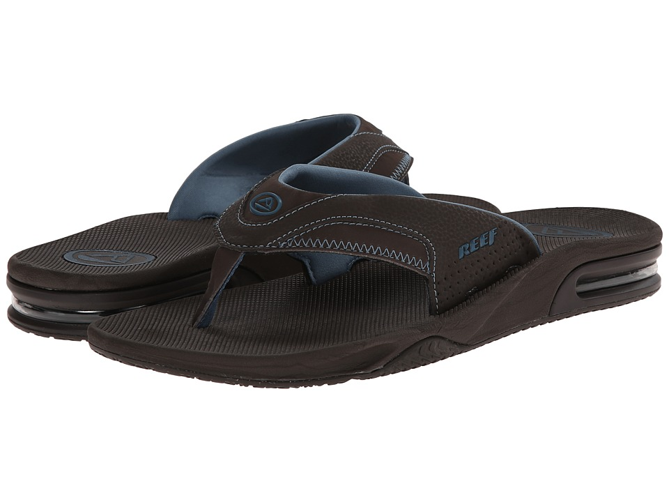Reef - Fanning Prints (Blue/Brown Wood) Men's Sandals