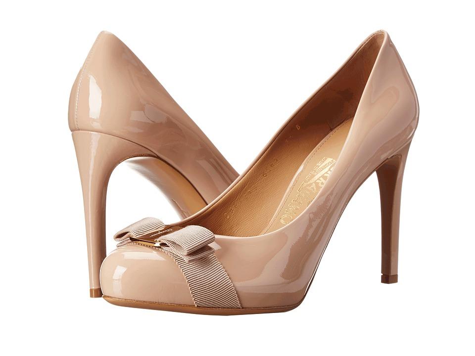 Salvatore Ferragamo - Patent Leather Platform Pump (New Bisque) High Heels