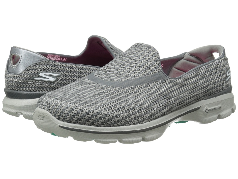 SKECHERS Performance - Go Walk 3 (Charcoal) Women's Flat Shoes