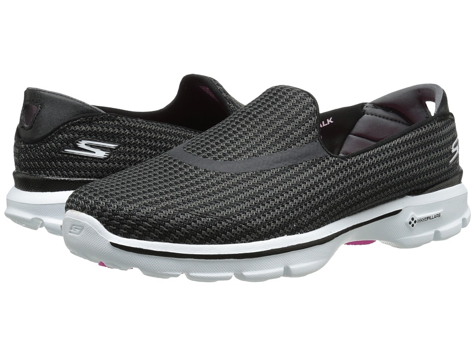 SKECHERS Performance - Go Walk 3 (Black/White) Women's Flat Shoes