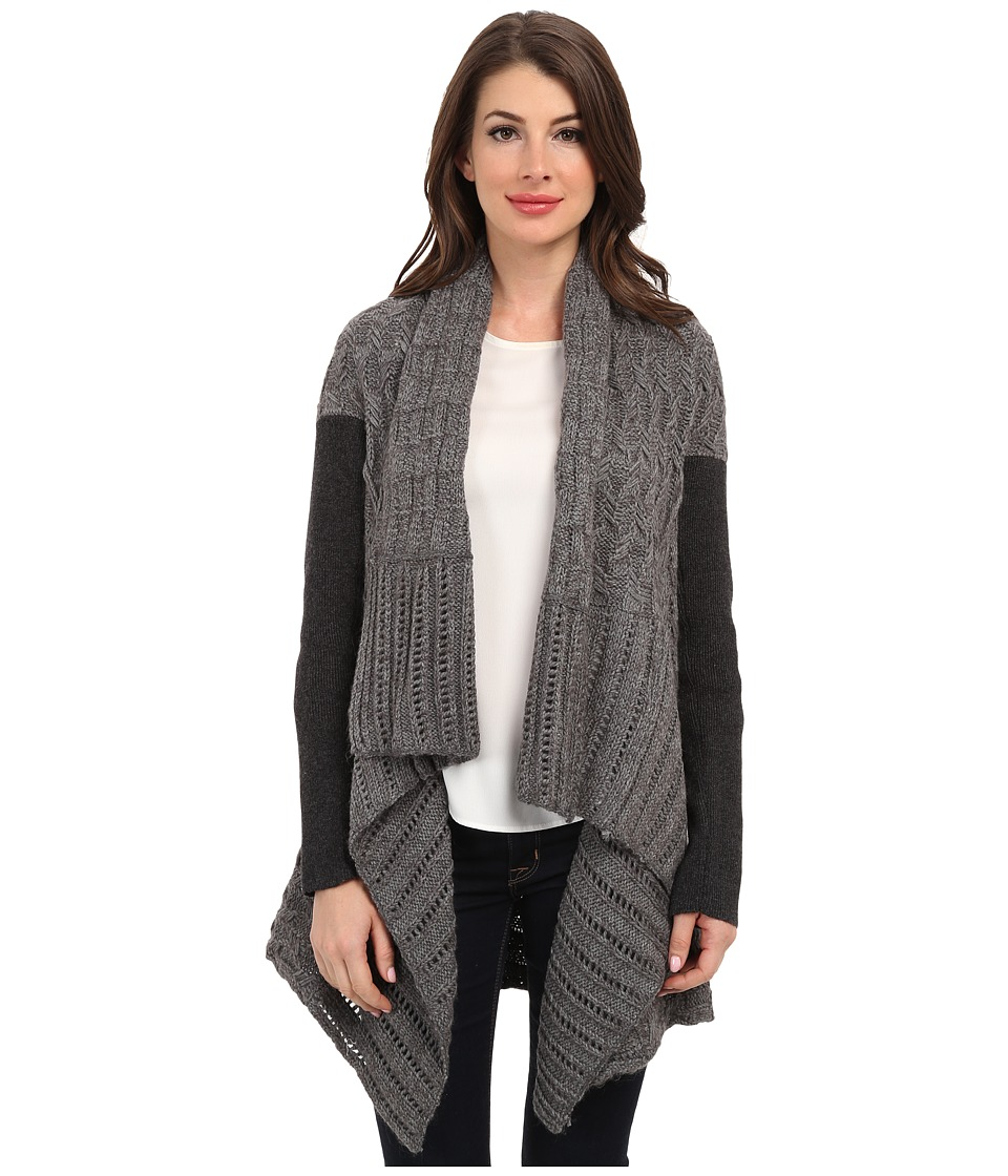 DKNYC - L/S Mixed Cable Stitch Covering (Storm Grey Combo) Women's Sweater