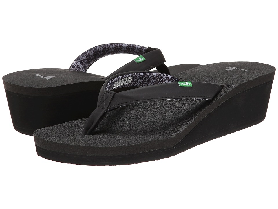 Sanuk - Yoga Zen Wedge (Black) Women's Sandals