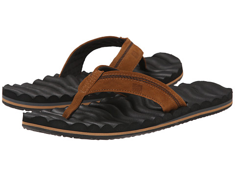 Reef - Swellular Cushion 3D - Leather (Black/Brown) Men's Sandals