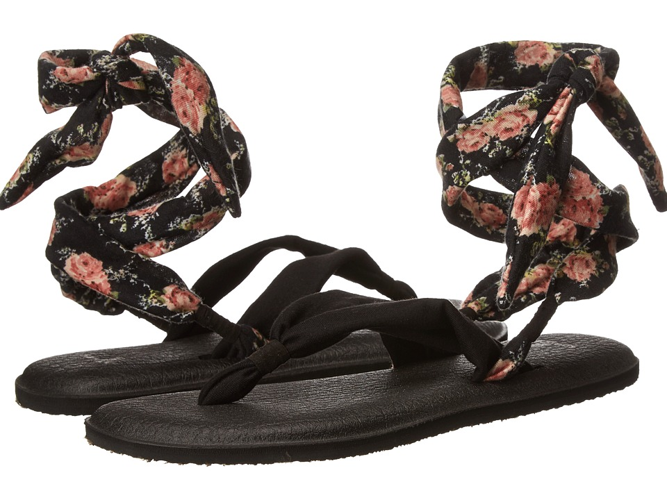 Sanuk Yoga Slinged Up Prints (Black/Black Floral) Women