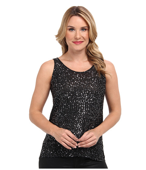 DKNYC - Stepped Hem Tank (Black Silver) Women's Sleeveless
