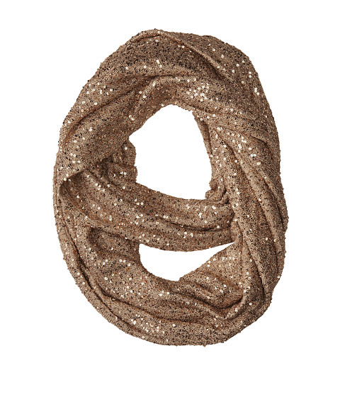 DKNYC - Sequin Yarn Infinity Scarf (Dark Gold) Scarves