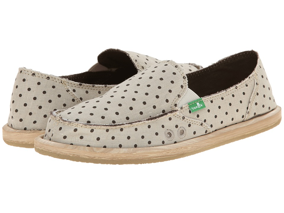 Sanuk - Hot Dotty (Natural/Brown Dots) Women's Slip on Shoes
