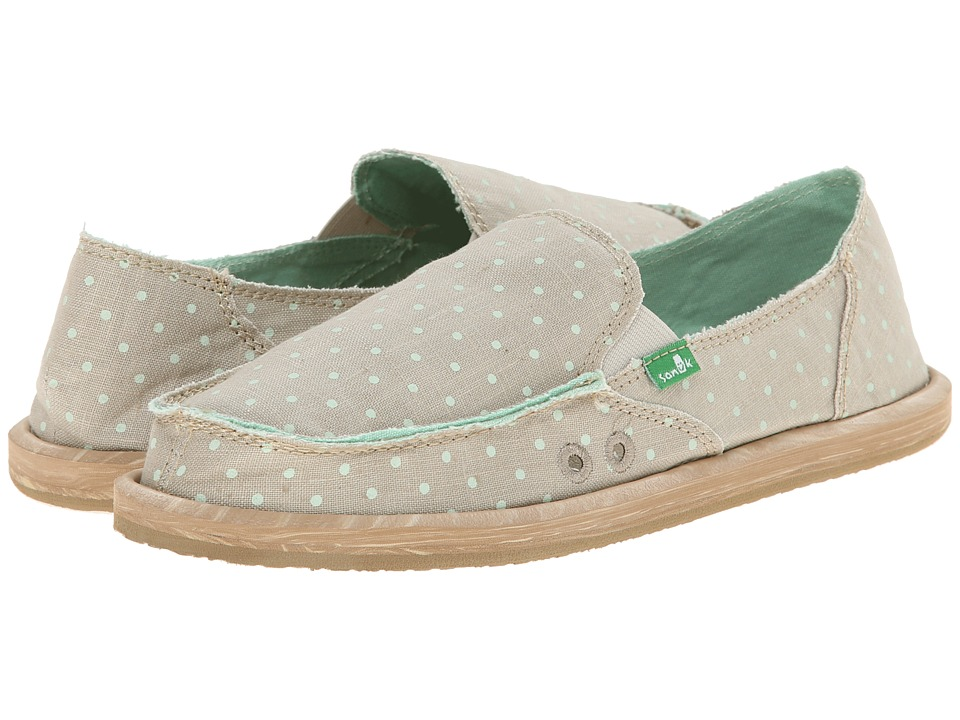 Sanuk - Hot Dotty (Natural/Mint Dots) Women's Slip on Shoes