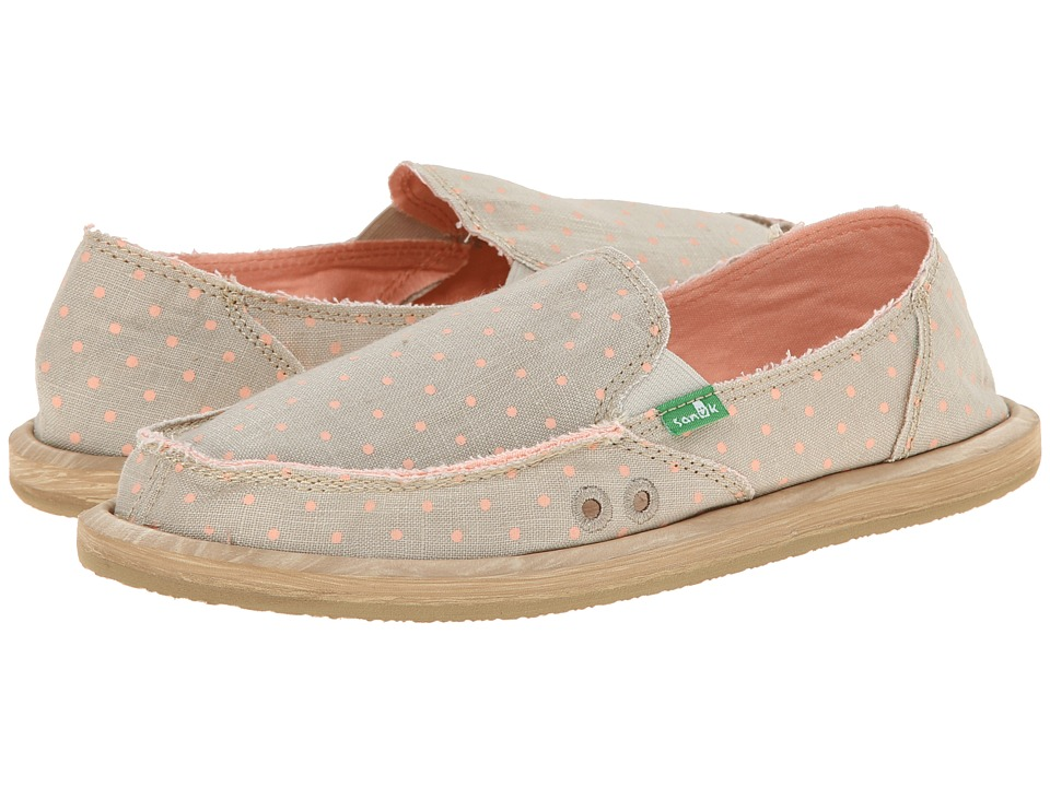 Sanuk - Hot Dotty (Natural/Peach Dots) Women's Slip on Shoes
