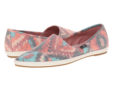 Sanuk - Kats Meow Prints (Black/Multi) Women's Slip on Shoes