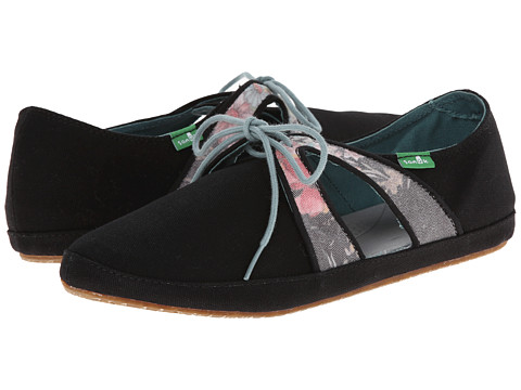 Sanuk - Iris (Black/Floral) Women's Shoes