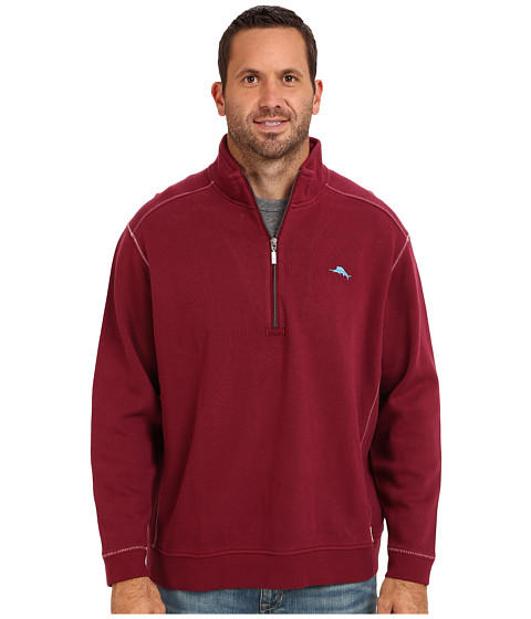 Tommy Bahama Big & Tall - Big Tall Antigua Half Zip Sweatshirt (Berry) Men's Sweatshirt