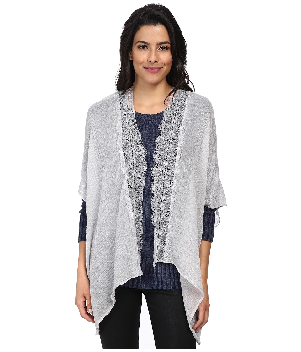BCBGeneration - Poncho Lace Trim (Light Grey) Women's Coat