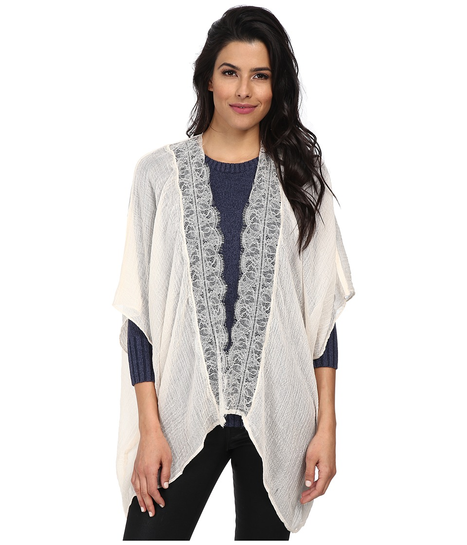 BCBGeneration - Poncho Lace Trim (Ivory) Women's Coat