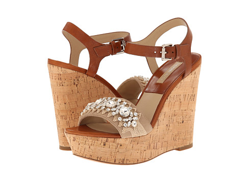 Michael Kors - Anastasia (Natural Palladium Rope Embroidery/Kid Suede/Vachetta) Women's Wedge Shoes