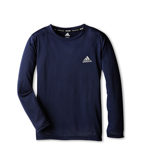 adidas Kids - Climalite Long-Sleeve Tee (Little Kids/Big Kids) (Collegiante Navy) Boy