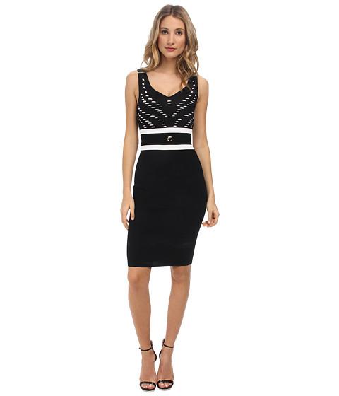 Versace Collection - Colorblock Knit Sheath Dress (Nero/Bianco) Women