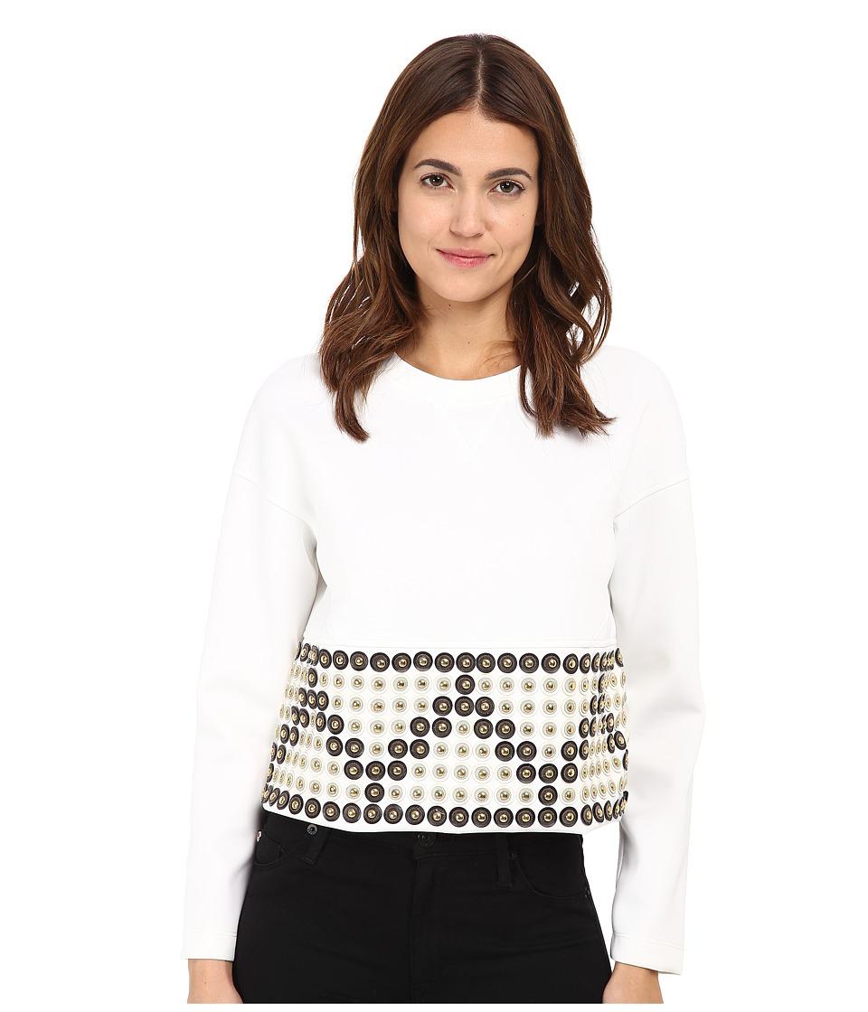 Versace Collection - Beaded Cropped Sweatshirt (Bianco Ottico) Women