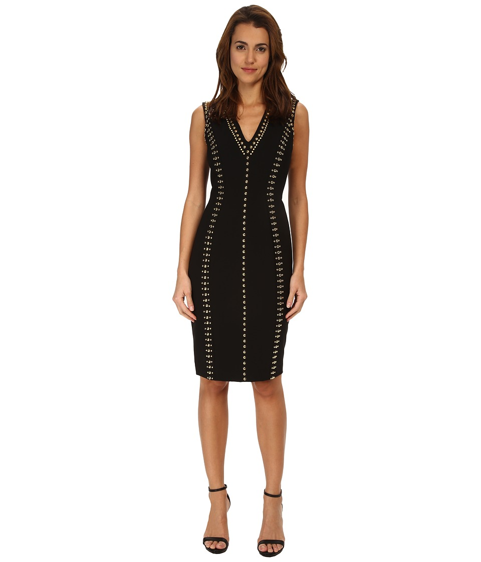 Versace Collection - Studded V-Neck Sheath Dress (Nero/Oro) Women's Dress
