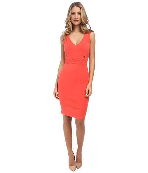 Versace Collection - V-Neck Knit Tank Dress (Coral) Women's Dress