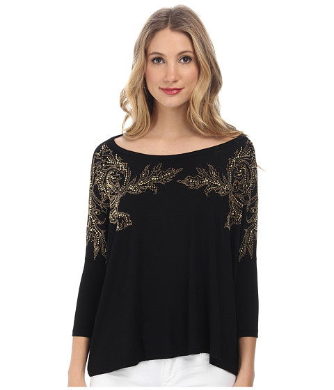 Versace Collection - Dolman Sleeve Embellished T-Shirt (Nero/Termo Oro) Women's T Shirt