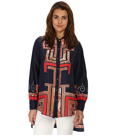 Versace Collection - Graphic Print Collared Blouse (Coral Multi) Women's Blouse