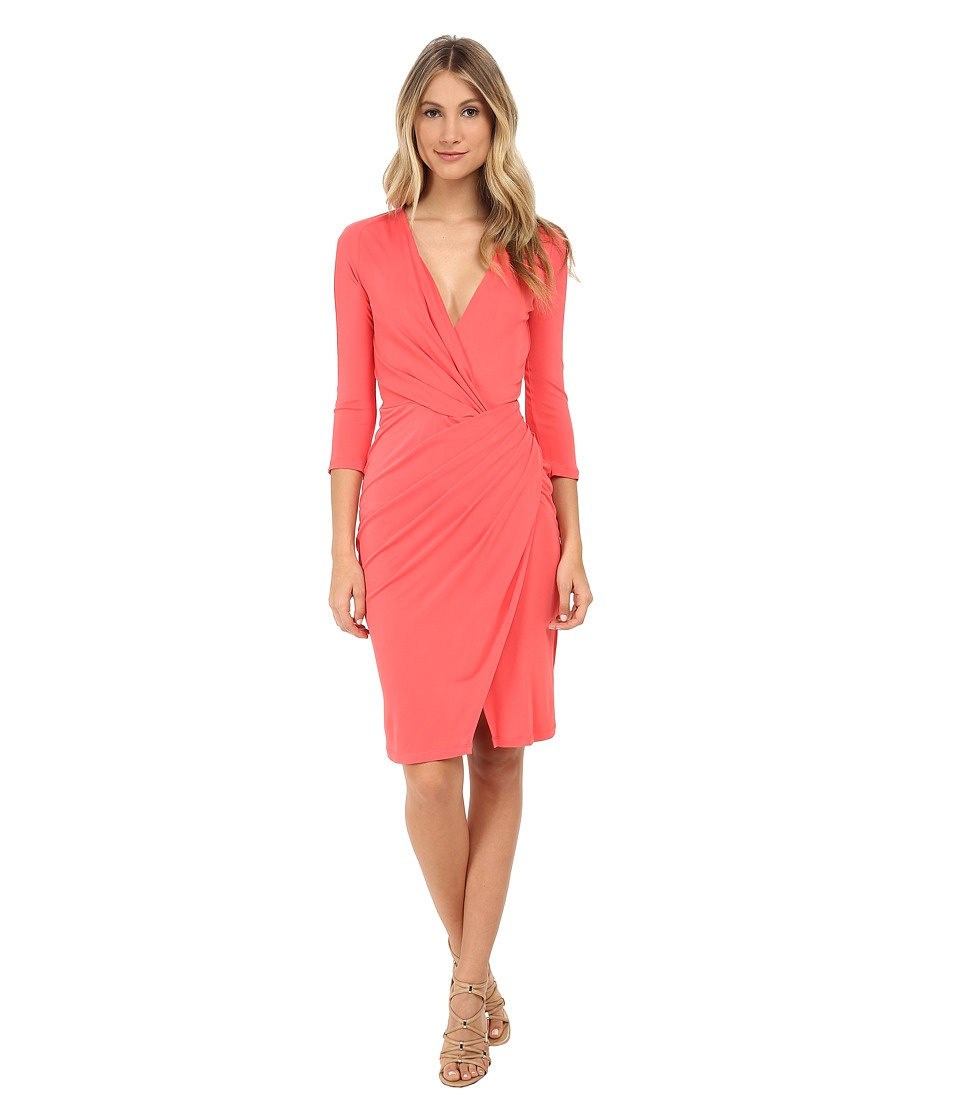 Versace Collection - Jersey Wrap Dress with Cutouts (Coral) Women's Dress