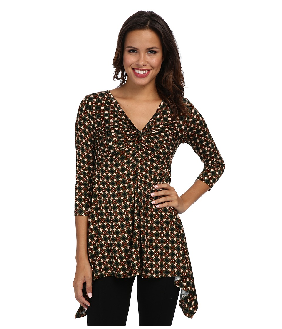 Karen Kane Medallion Twist Front Handkerchief Top (Print) Women