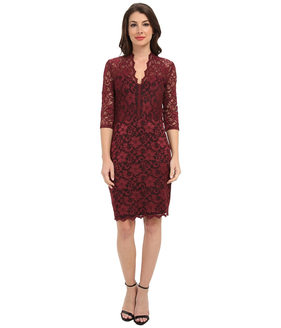 Karen Kane - V-Neck Scallop Hem Lace Dress (Mahogany/Black) Women