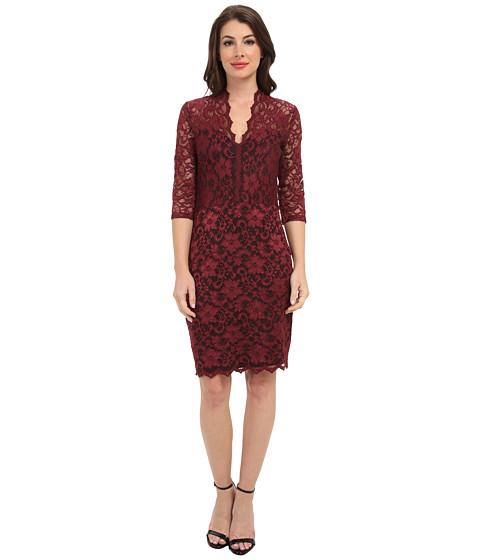 Karen Kane - V-Neck Scallop Hem Lace Dress (Mahogany/Black) Women's Dress