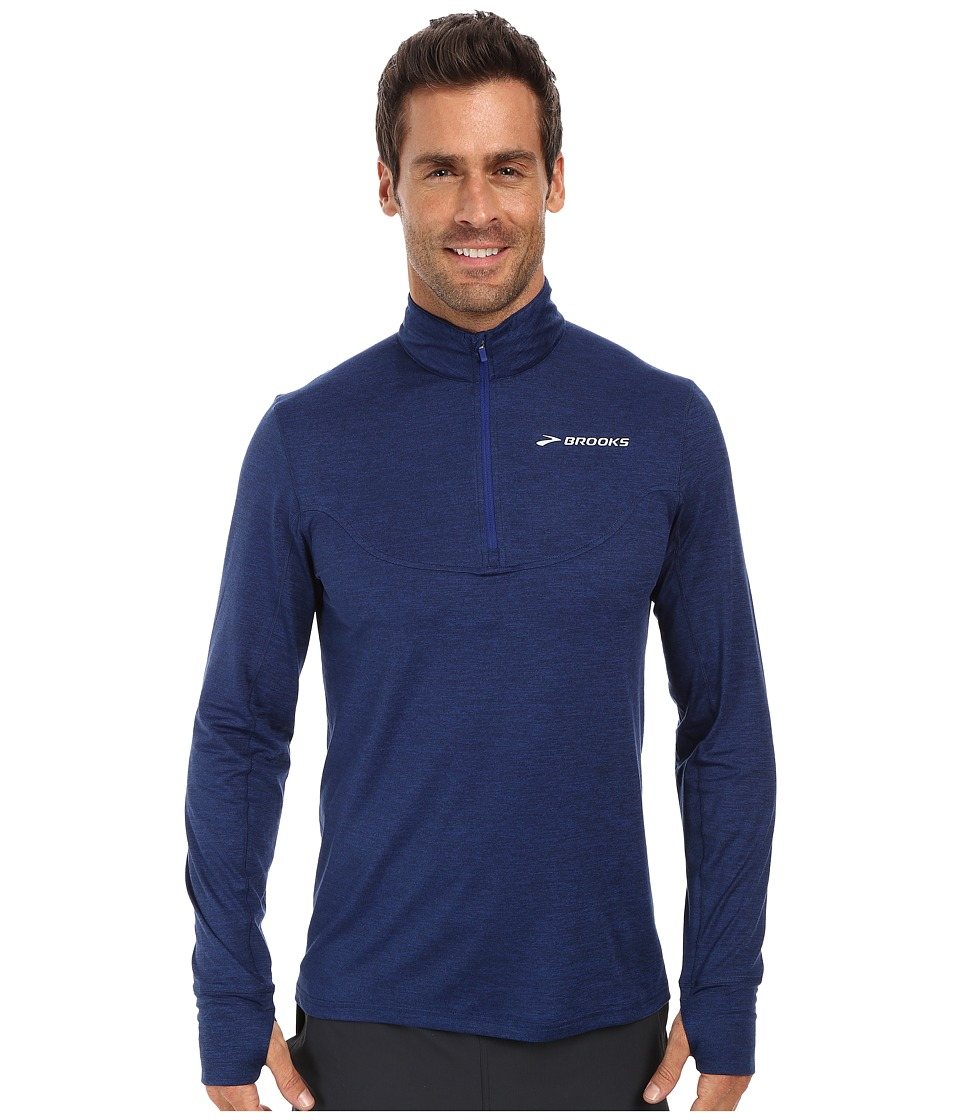 Brooks - Essential 1/2 Zip III (Heather Indigo) Men's Jacket