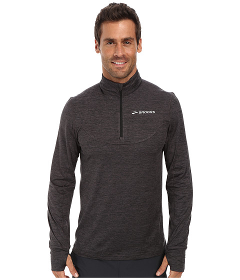 Brooks - Essential 1/2 Zip III (Heather Black) Men