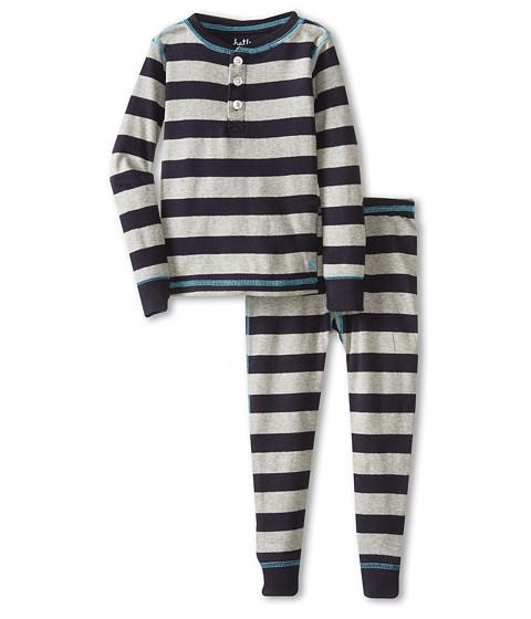Hatley Kids - Henley PJ Set (Toddler/Little Kids/Big Kids) (Athletic Grey Stripes) Boy