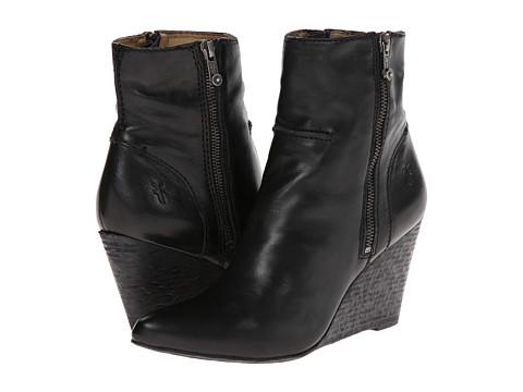 Frye - Regina Seam Wedge (Black Smooth Vintage Leather) Cowboy Boots