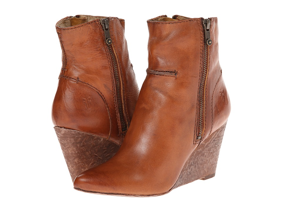 Frye - Regina Seam Wedge (Cognac Smooth Vintage Leather) Cowboy Boots