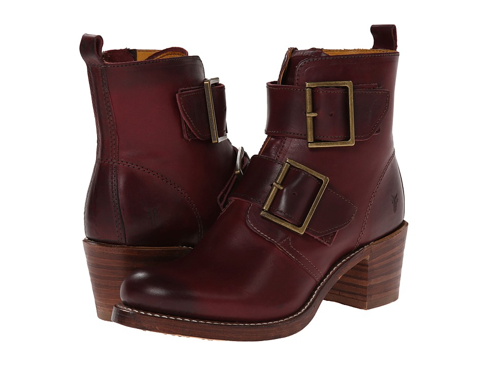 Frye - Sabrina Double Buckle (Bordeaux Smooth Vintage Leather) Cowboy Boots