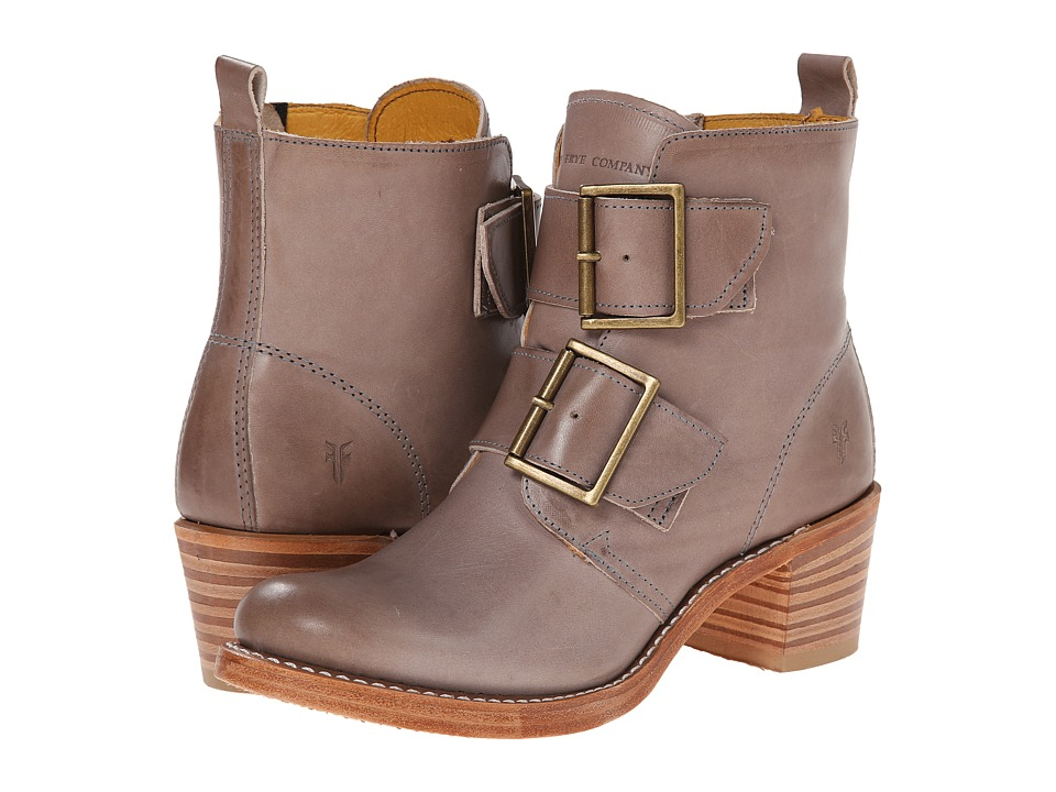 Frye - Sabrina Double Buckle (Grey Smooth Vintage Leather) Cowboy Boots