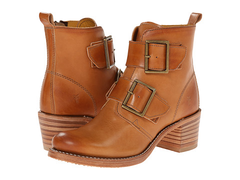 Frye - Sabrina Double Buckle (Tan Smooth Vintage Leather) Cowboy Boots