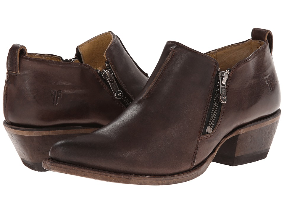 Frye Sacha Moto Shootie (Charcoal Smooth Vintage Leather) Women