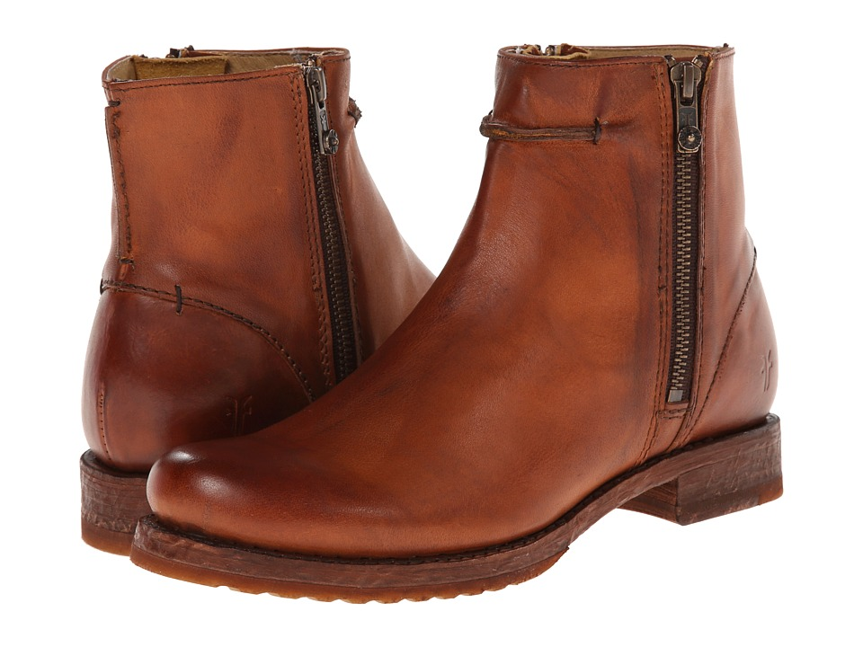 Frye - Veronica Seam Short (Cognac Smooth Vintage Leather) Cowboy Boots