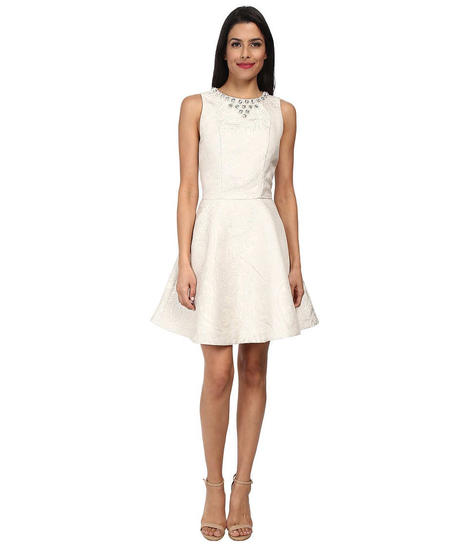 Ted Baker - Esttah Embellished High Neck Dress (Cream) Women's Dress