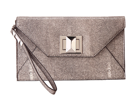 BCBGMAXAZRIA - Mattie Faux Stingray Clutch w/ Icon Turnlock (Stone) Clutch Handbags