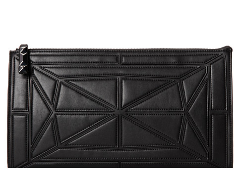 BCBGMAXAZRIA - Gwyneth Faux Leather Patched Satin Clutch (Black) Clutch Handbags