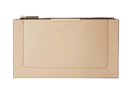 BCBGMAXAZRIA - Becca Double Layer Faux Leather Zip Top Pouch (Nude Combo) Clutch Handbags