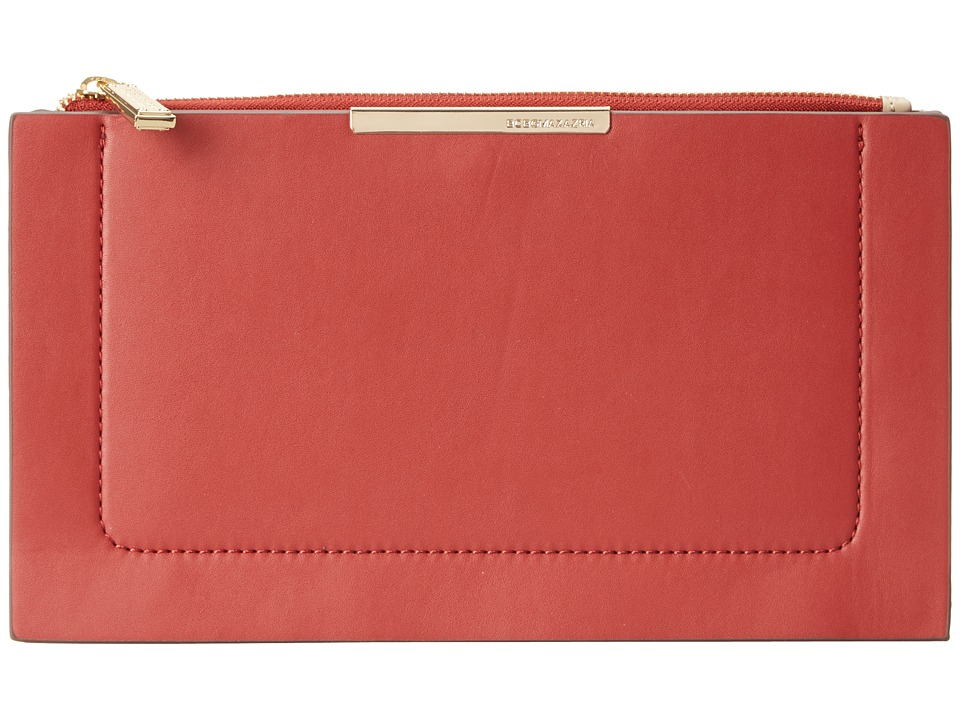 BCBGMAXAZRIA - Becca Double Layer Faux Leather Zip Top Pouch (Poppy Combo) Clutch Handbags