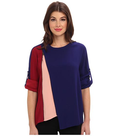 BCBGMAXAZRIA - Carie Asymmetrical Zip Top (Orient Blue Combo) Women