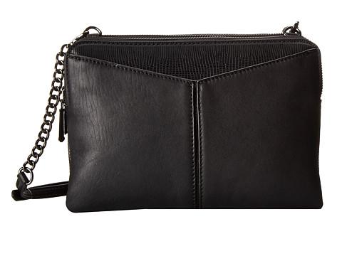 BCBGMAXAZRIA - Nappa Leather Crossbody w/ Faux Tejus (Black) Cross Body Handbags