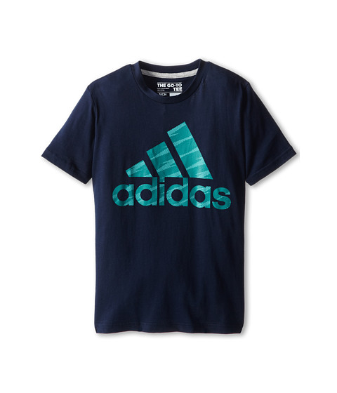 adidas Kids - 30's S/S Tee Shockwave Logo (Big Kids) (Navy/Mint) Boy's T Shirt